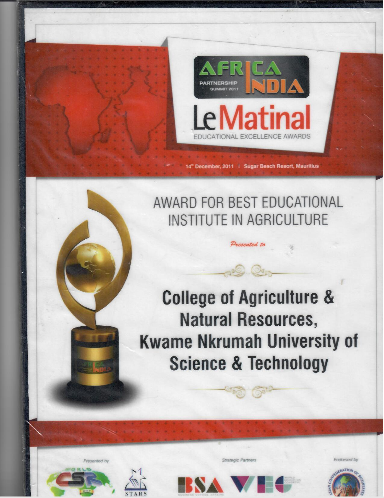 Award - Best Educational Institution in Agriculture